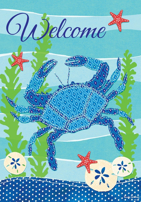 Blue Crab Welcome Sand Dollars and Starfish Garden Flag 18 X 12 Inches