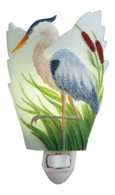 Blue Heron Poised in Cattails Night Light Bonded Marble