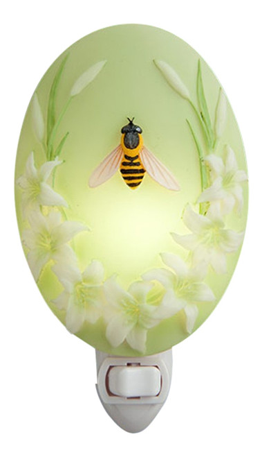 Honey Bee and Lillies Night Light Bonded Marble