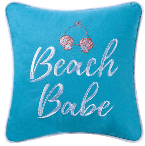Beach Babe Embroidered Blue Accent Throw Pillow 10 Inches