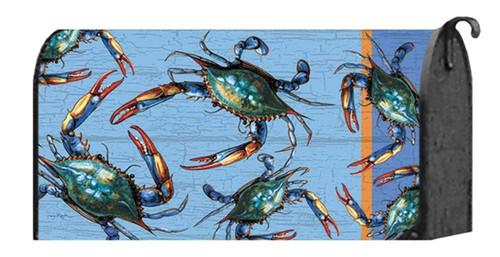 Blue Crabs Coastal Welcome Mailbox Wrap Cover