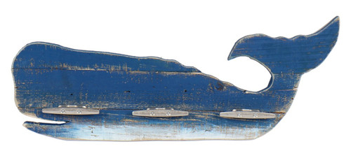 Blue and White Whale with Metal Cleat Hooks Slatted Wood Wall Plaque 23 Inches