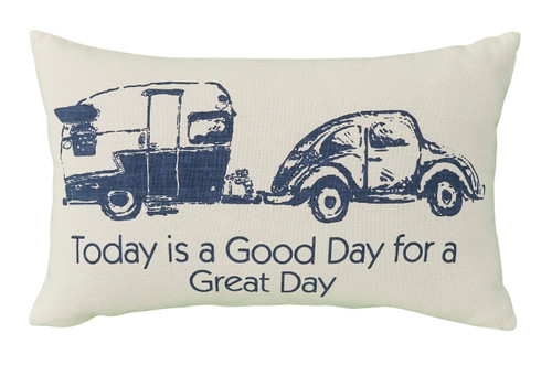 Beetle Bug Pulling Camper Blue and White Accent Throw Pillow 20 Inch