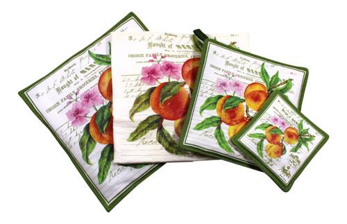 Peaches Towel Spiced Hot Pad Pot Holder Spiced Mug Mat 4 Piece Kitchen Gift Set