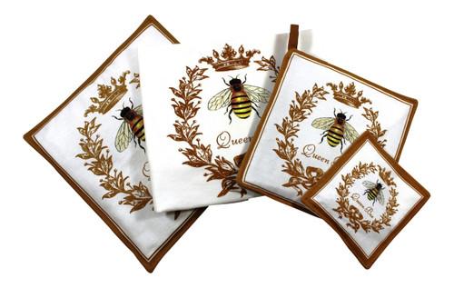 Bee Towel Spiced Hot Pad Pot Holder Spice Mug Mat 4 Piece Kitchen Gift Set