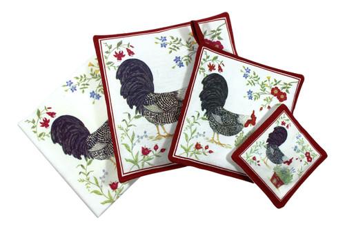 Rooster Towel Spiced Hot Pad Pot Holder Spiced Mug Mat 4 Piece Kitchen Gift Set