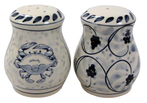 Blue Crab Salt and Pepper Shaker Set Stoneware