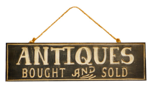 Antiques Bought and Sold Wood Wall Sign 19 Inches