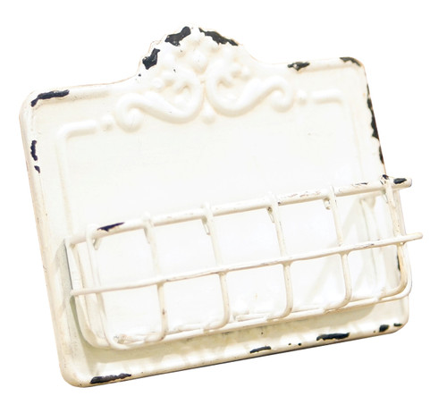 Antiqued White Rustic Business Card Holder Metal 5 Inches