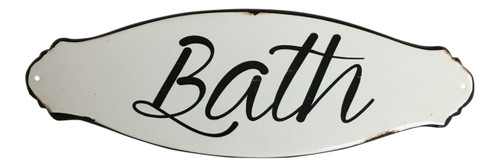 Bath White Enameled Metal Wall Sign Plaque 12 Inches