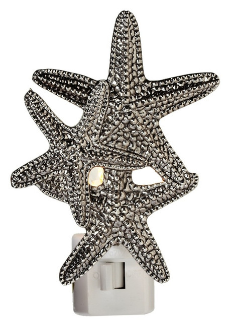 Trio of Silver Starfish Electric LED Night Light