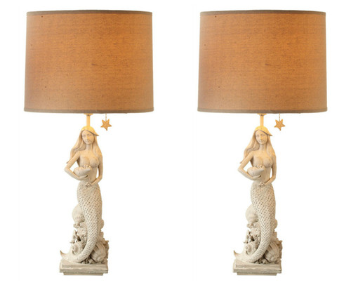 Whitewash Mermaid Sitting on Shells Electric Table Lamps 60W Set of Two