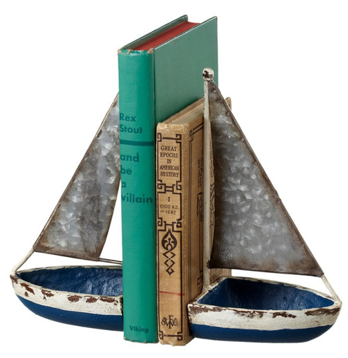Blue Sail Boats Nautical Bookends Cast Iron and Galvanized Metal