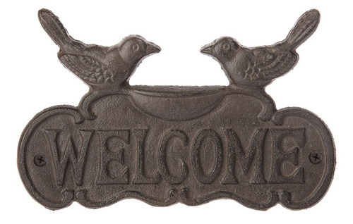 Birds of Happiness Welcome Door Sign Plaque Cast Iron Rustic Finish