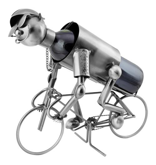 Cyclist Bike Racer Polished Metal Wine Caddy Bottle Holder
