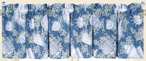 Cape Coral Window Valance Blue Shells and Coral Printed Cotton 72 X 15.5 Inches