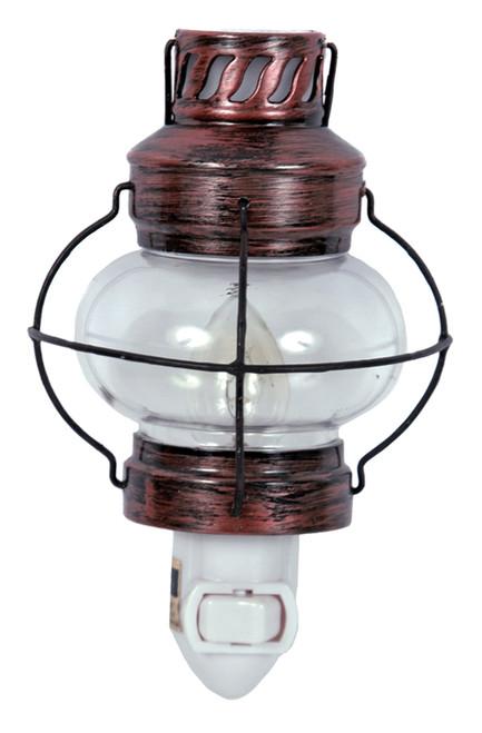 Bronzed Finish Camp Lantern Night Light Electric 7 Watt