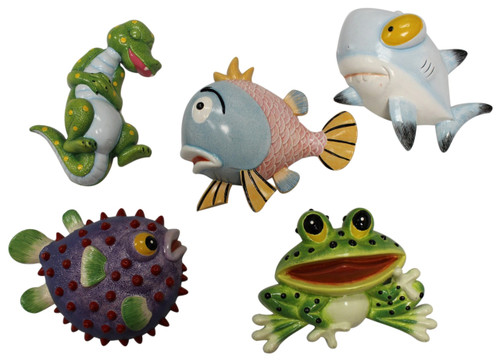 Alligator Frog and Happy Fish Dimensional Wall Decor Set of 5 Eight Inches Each