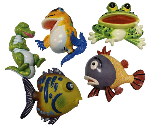 Bold Colors Happy Fish Gator Frog Dimensional Wall Decor Set of 5 Eight Inches