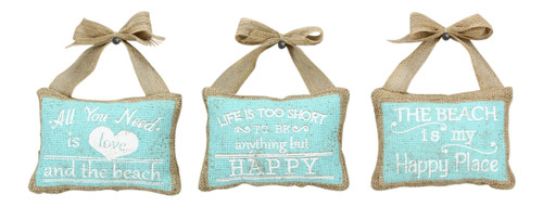 All You Need is Love Be Happy Burlap and Bows Mini Pillows Wall Decor Set of 3