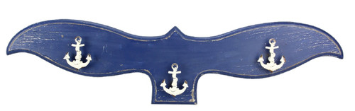 Blue Whale Tail with Ships Anchors Nautical Hooks Wall Decor 28 Inches