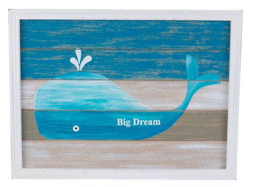 Blue and White Whale Big Dream Slatted Wood Framed Wall Plaque 15.75 Inches