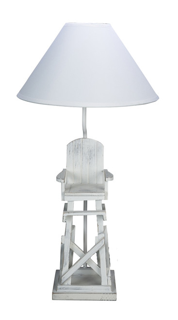 Beachy White Life Guard Chair Tabletop Lamp Electric 40 Watt