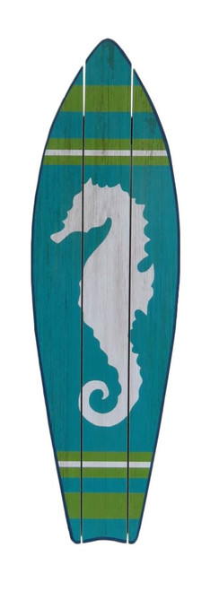 Blue Green and White Seahorse Surfboard Wall Plaque 22 Inches