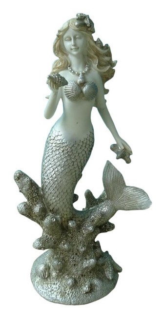 Blonde Mermaid in Coral Tabletop Figurine 11 Inches