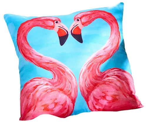 Pink Flamingos Indoor or Outdoor Accent Throw Pillow 14 Inches