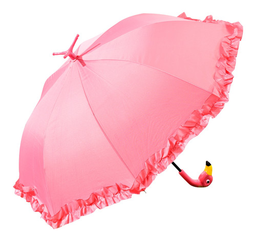 Ruffled Hot Pink Flamingo Rain Umbrella