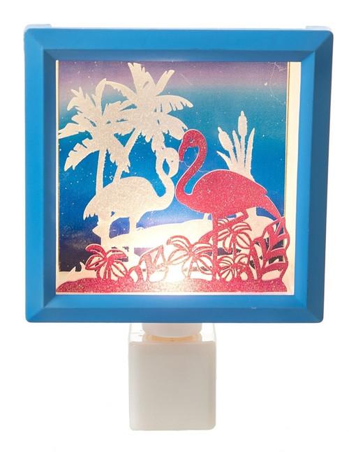 Flamingos and Palm Trees Laser Cut Scene Box Night Light Electric Acrylic