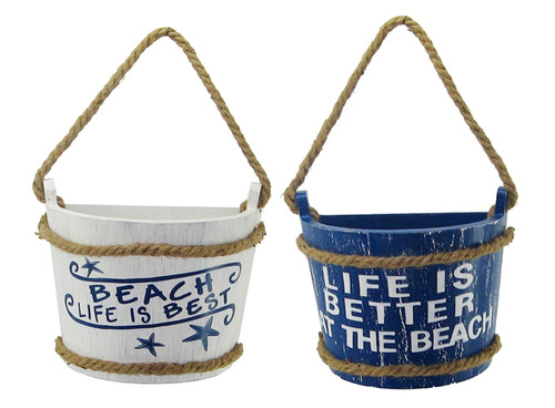 Beach Life is Best and Life is Better at Beach Half Buckets Wooden Set of Two