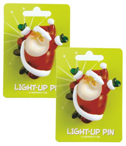 Lights Up Santa Claus Christmas Fun Pins Set of 2