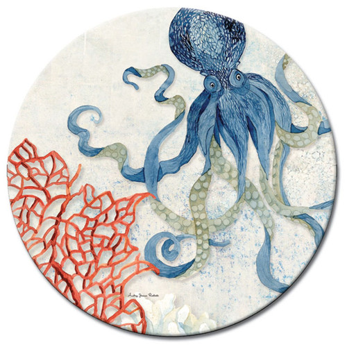 Indigo Ocean Octopus and Coral Glass Lazy Susan Serving Turntable 13 Inches