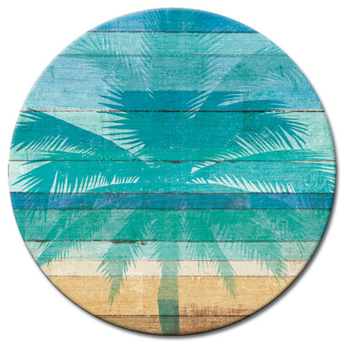 Beachscapes Palm Silhouette Glass Lazy Susan Serving Turntable 13 Inches