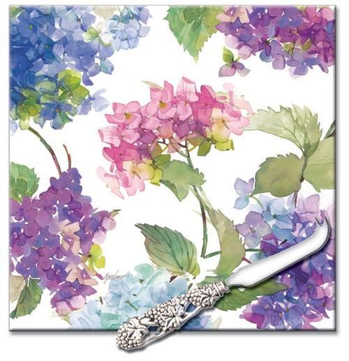 Floral Hydrangea Blooms Glass Cheese Board and Spreader 8 Inches