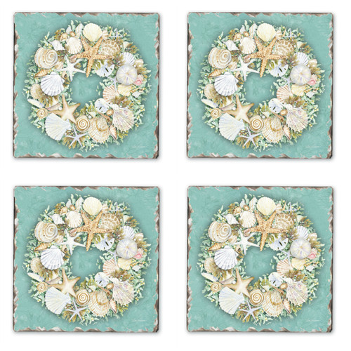 Coastal Shells and Starfish Wreath Tile Coasters Set of 4