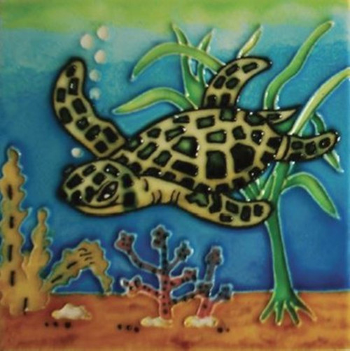 Green Sea Turtle Swimming In Ocean Watercolor Ceramic Tile Inches - 4 inch decorative ceramic tile