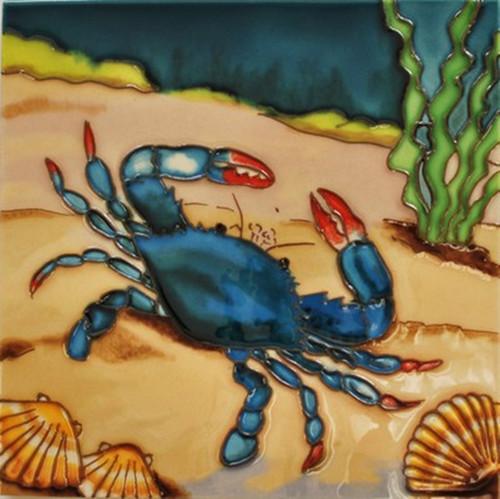 Blue Crab in Ocean Ceramic Magnet 3 Inches Refrigerator Memo Board Decor