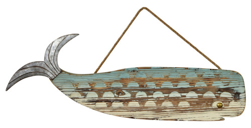 Carved Wood Whale Shaped Wall Plaque Sign Metal Accents 29.75 Inches