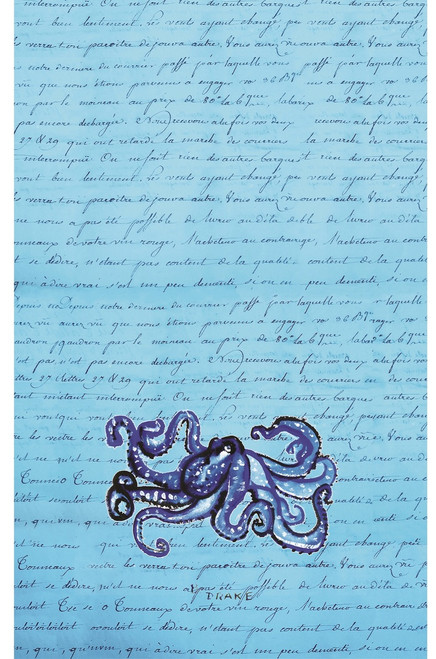 Blue Octopus on Script Microfiber Kitchen Drying Towel 25 Inches