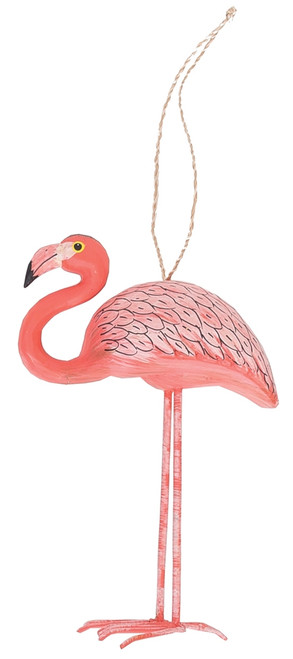 Pink Flamingo And Fun Parrot Bird Sitting On Whimsical