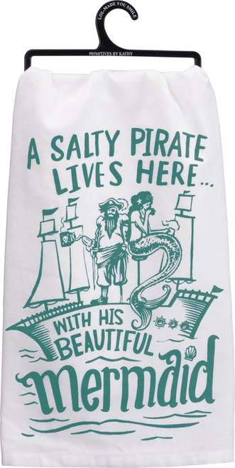 A Salty Pirate Lives Here With His Beautiful Mermaid Kitchen Dish Towel Cotton