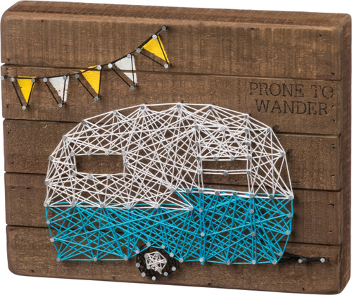 Camper RV Prone to Wander String Art Wood Wall Plaque 10 Inches