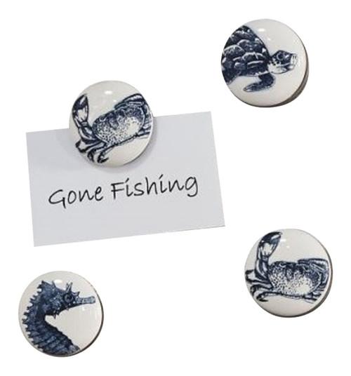 Crabs Sea Turtle Seahorse Oceanic Creatures Frige  Magnets Set of 4 Ceramic