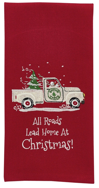 All Roads Lead Home For the Holidays Christmas Pick Up Truck Kitchen Dish Towel