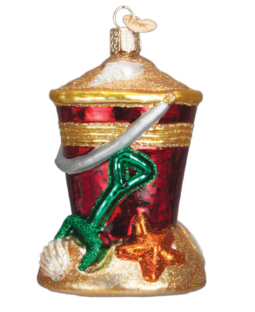 Beach Sand Bucket and Shovel Christmas Holiday Ornament Blown Glass