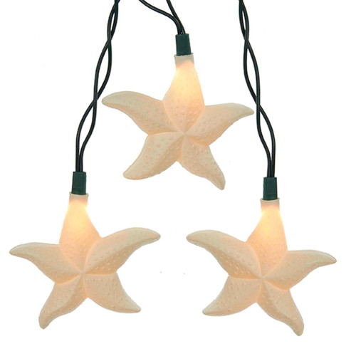 Starfish Holiday Light Set of 10 with Glitter 12 Feet Long Electric