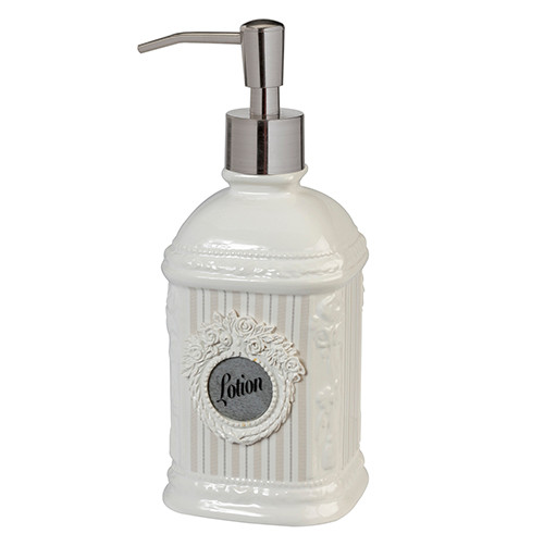 Can Can Delicate White Roses Ceramic Bathroom Lotion Soap Pump